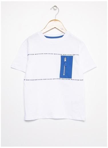 Limon Company Limon Erkek Çocuk Beyaz Mavi Bisiklet Yaka T-Shirt Beyaz